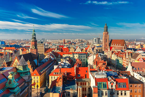 aerial view of wroclaw in the morning - polonya stok fotoğraflar ve resimler