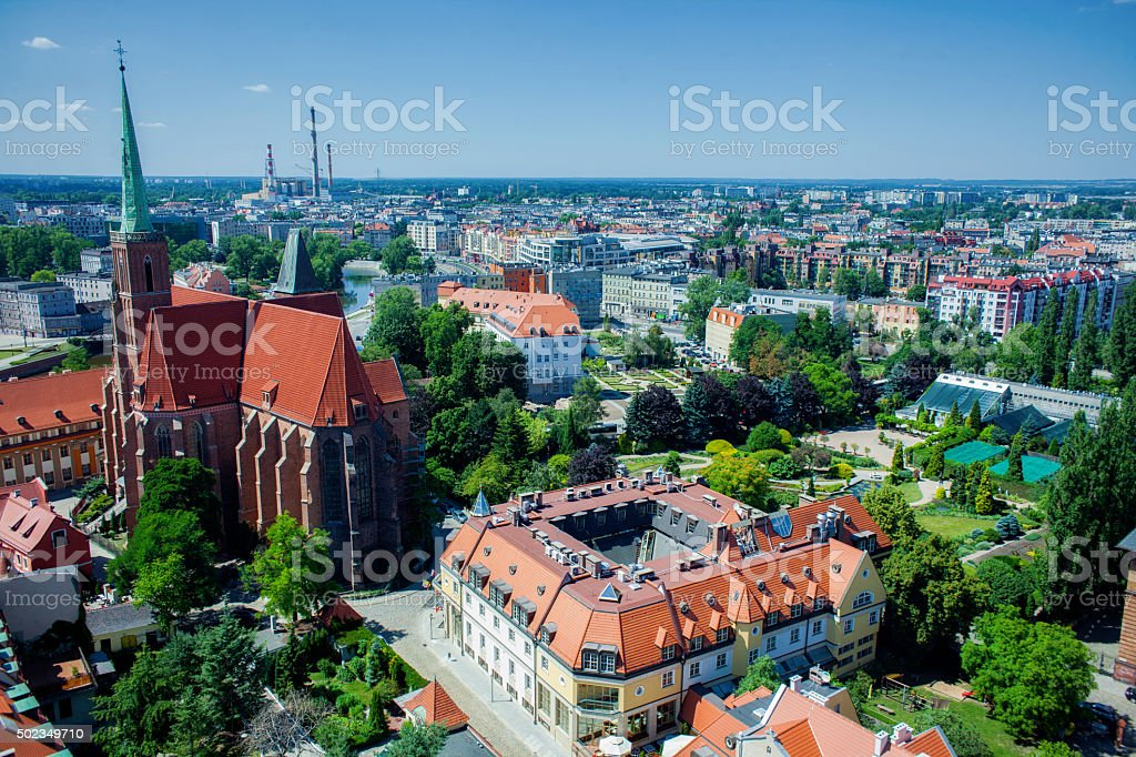 Aerial view of Wroclaw, Poland stock photo