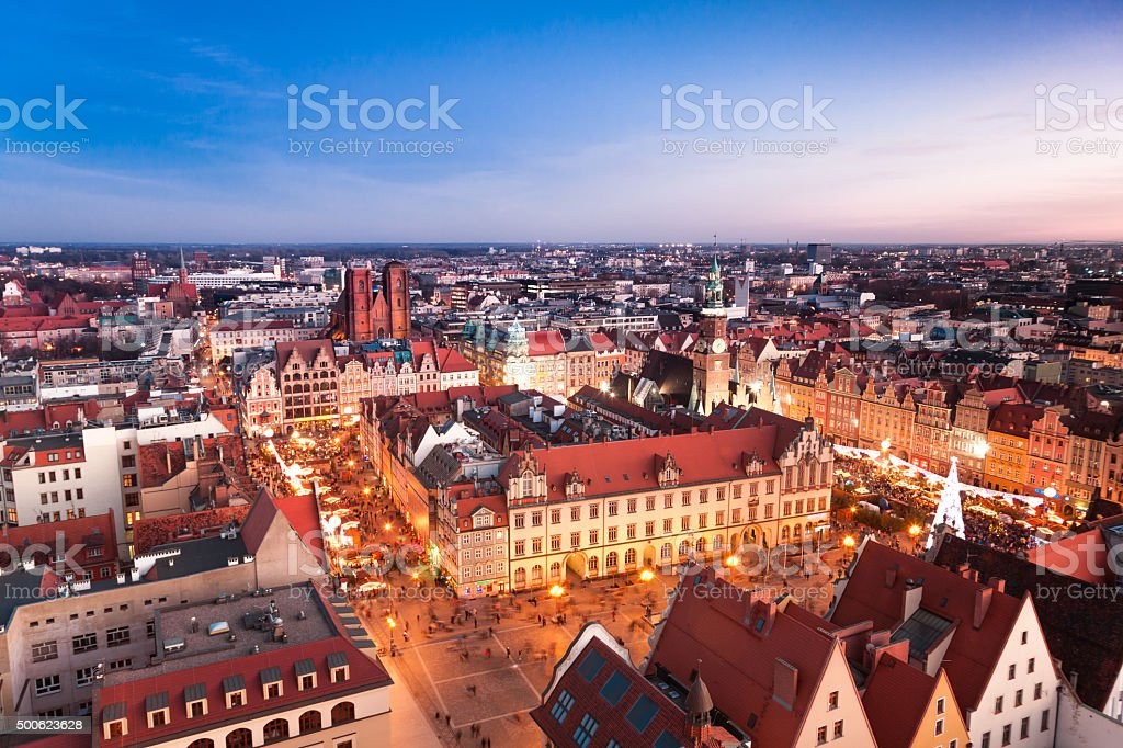 Aerial view of Wroclaw skyline in twilight, Poland, Europe. stock photo