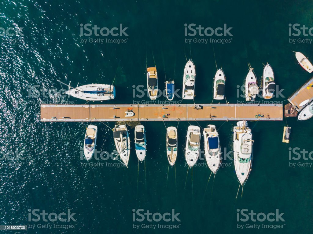 aerial view of yachts in city docks of montenegro stock photo