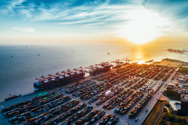 Aerial view of Yangshan harbor, Shanghai, China. stock photo