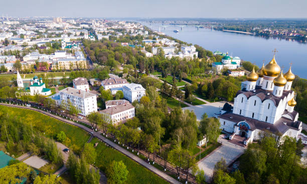 Aerial view of Yaroslavl with Assumption Cathedral stock photo