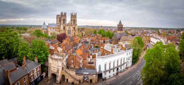 Aerial view of York Minster in cloudy day, England stock photo