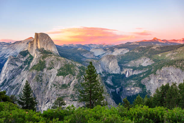 Aerial view of Yosemite national park. California, USA Aerial view of Yosemite national park. California, United States el capitan yosemite national park stock pictures, royalty-free photos & images