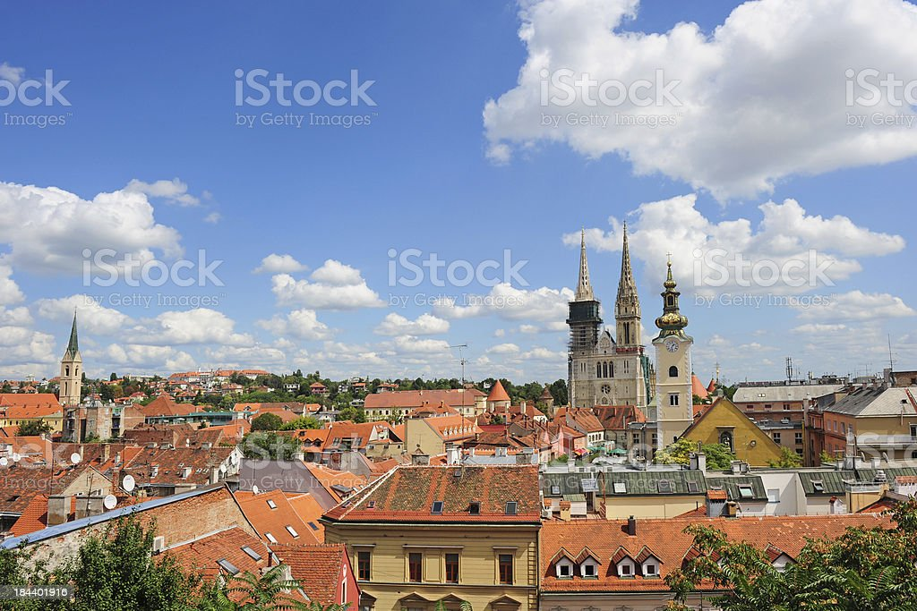 Aerial view of Zagreb city stock photo