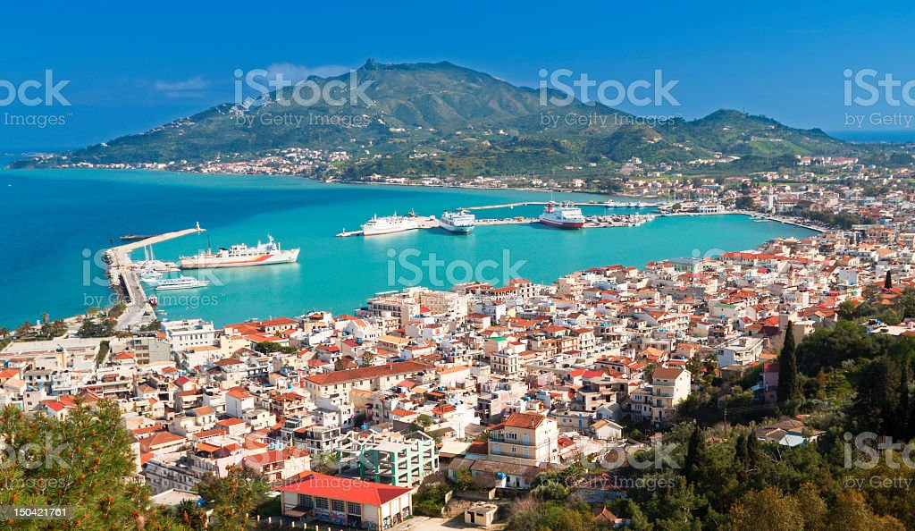 Aerial view of Zakynthos island in Greece stock photo