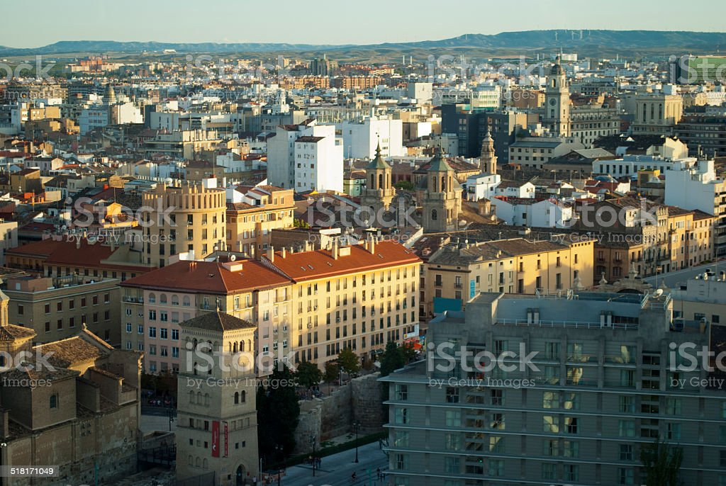 Aerial view of Zaragoza, Spain stock photo