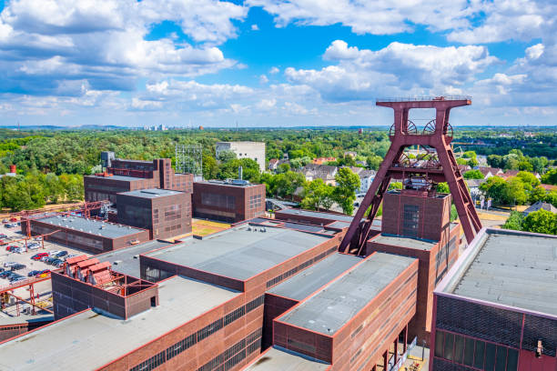 Aerial view of Zollverein industrial complex in Essen, Germany Aerial view of Zollverein industrial complex in Essen, Germany north rhine westphalia stock pictures, royalty-free photos & images