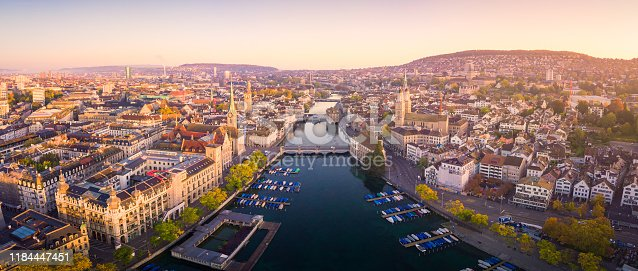 Aerial panoramic cityscape view of Zurich and River Limmat, Switzerland