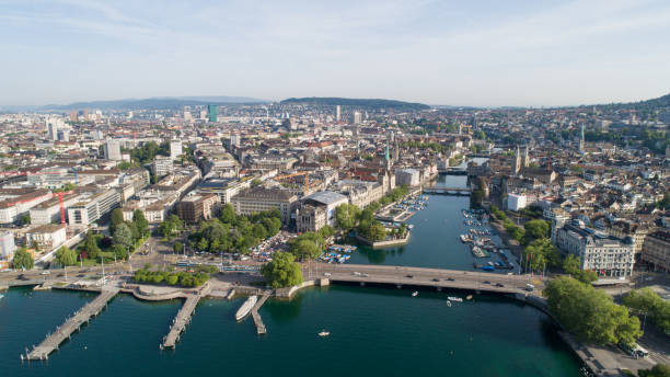 Aerial View of Zurich Cityscape in Switzerland Urban Skyline, Zurich, Europe limmat river stock pictures, royalty-free photos & images