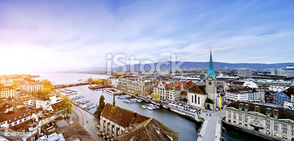 Aerial view of Zurich's cityscape panoramic at sunset, Switzerland.