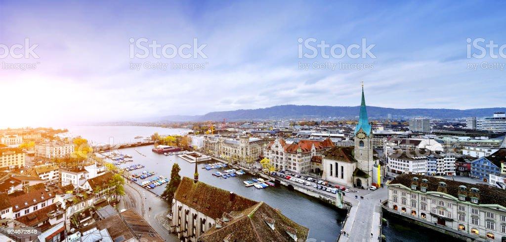 Aerial View of Zurich Cityscape, Switzerland stock photo