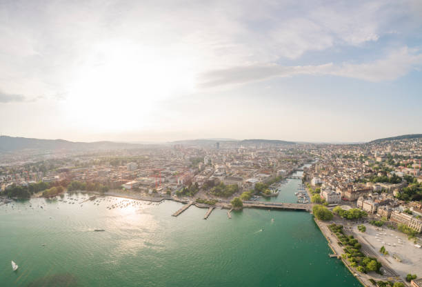 Aerial View of Zurich, Switzerland, Panorama Lake of Zurich in evening light and sunset wasser photos stock pictures, royalty-free photos & images