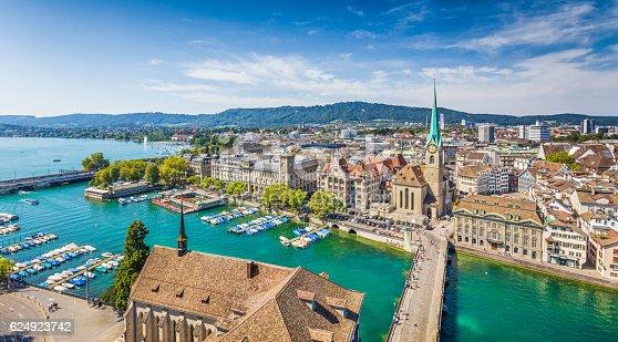 istock Aerial view of Zurich with river Limmat, Switzerland 624923742