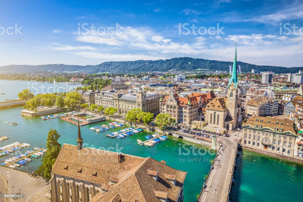 Aerial view of Zurich with river Limmat, Switzerland stock photo