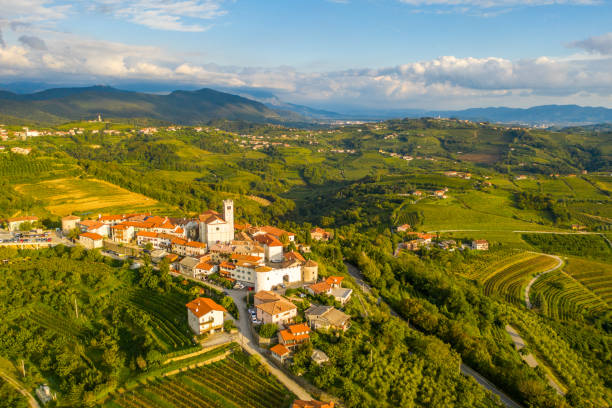 Aerial view of Smartno village,  Goriska Brda,  Slovenia stock photo