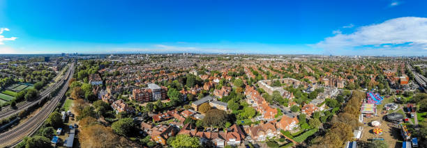 Aerial view ofsuburb in London in sunny day stock photo