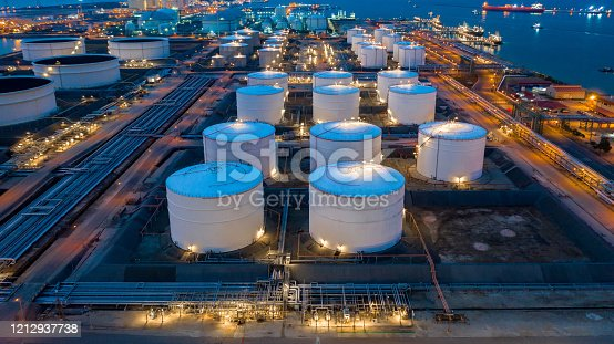 Aerial view oil and gas terminal storage tank farm,Tank farm storage chemical petroleum petrochemical refinery product, Business commercial trade fuel and energy transport by tanker vessel.