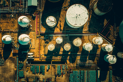 Aerial view oil and gas terminal storage tank