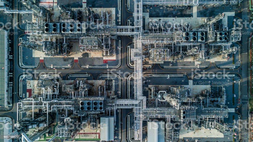 Luftbild-Öl-Raffinerie - Lizenzfrei Ansicht von oben Stock-Foto
