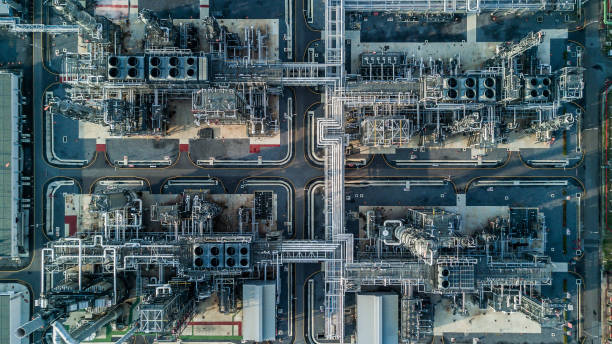 aerial view oil refinery - refinery stock photos and pictures