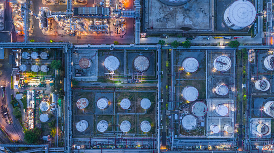 Aerial view oil refinery, refinery plant, refinery factory at night.