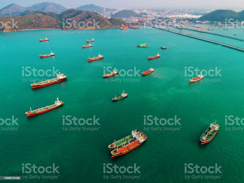 Aerial view Oil ship tanker park on the sea transportation oil with...