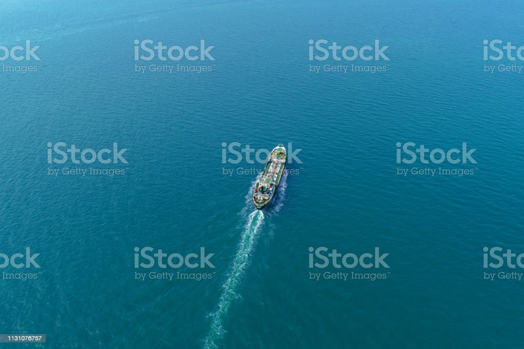 Aerial view Oil ship tanker transportation oil from refinery on the...