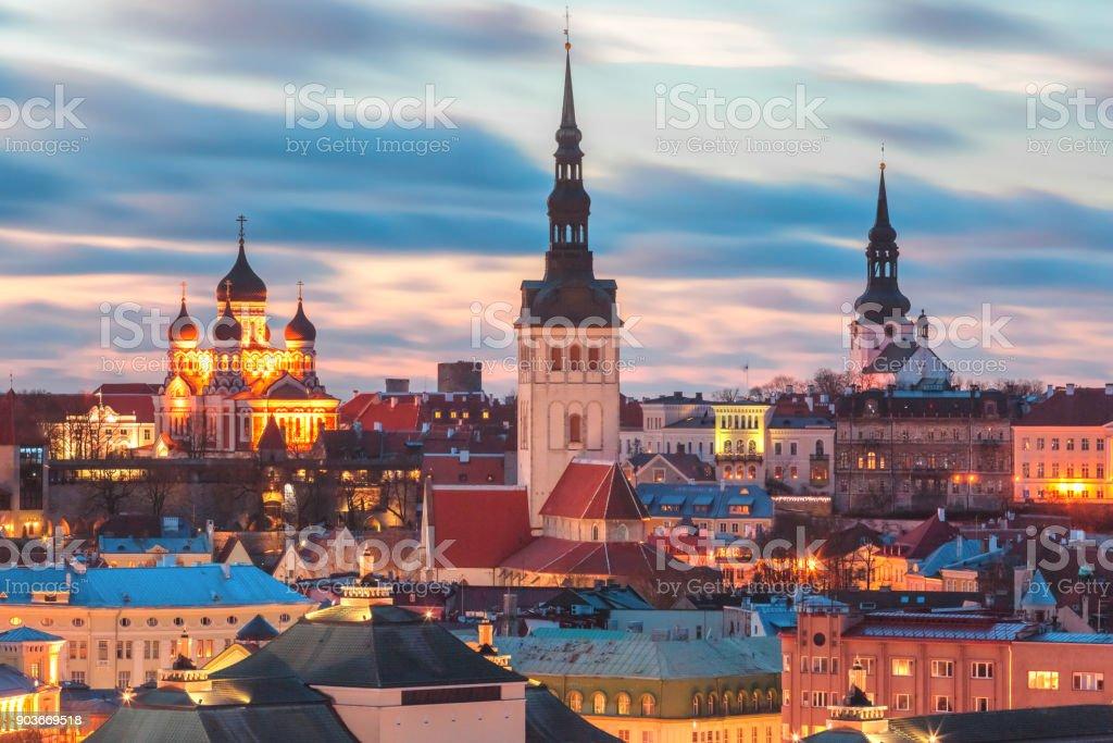 Aerial view old town at sunset, Tallinn, Estonia stock photo
