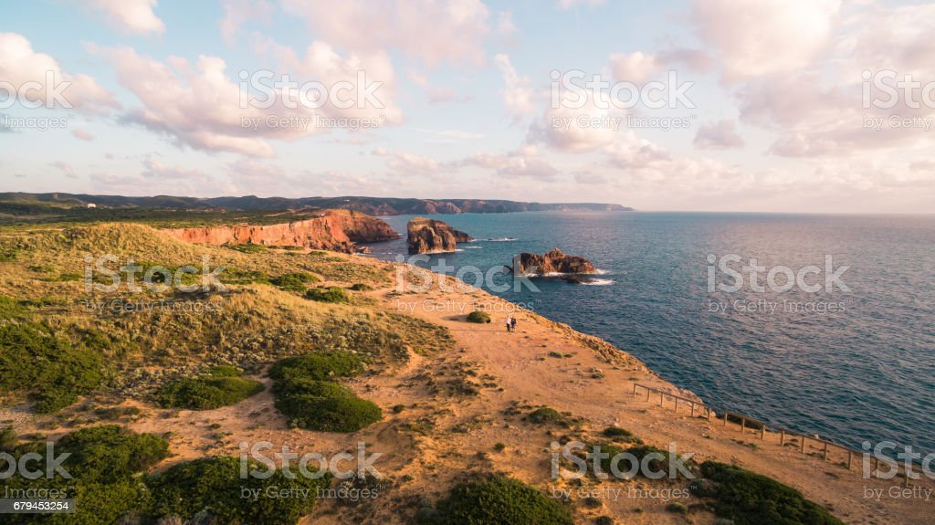 Aerial view om a beautiful cliffs on west coast of Portugal near Carrapateira, Rota Vicentina. royalty-free stock photo