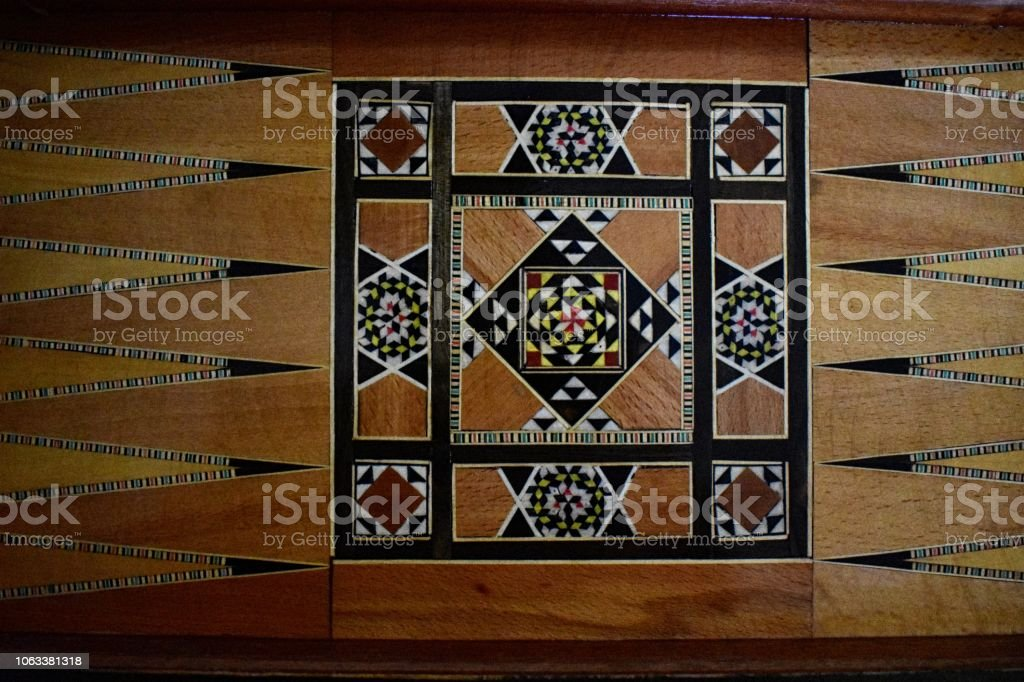 Aerial view on a backgammon board stock photo