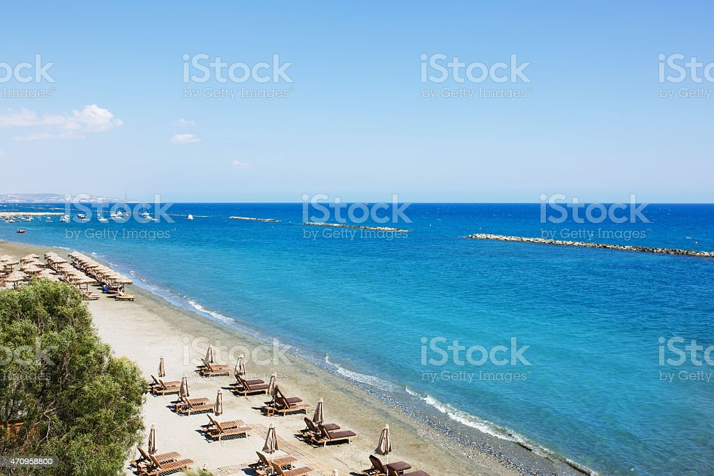 Aerial view on a beach chairs and umbrellas on beach stock photo
