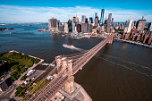 Aerial view on a Manhattan skyline and a Brooklyn Bridge taken from a helicopter flying above the East River.