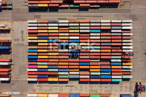 Germany: Aerial view on a container port with colorful containers.