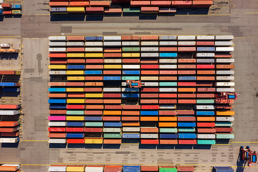 Aerial view on a container port, Germany
