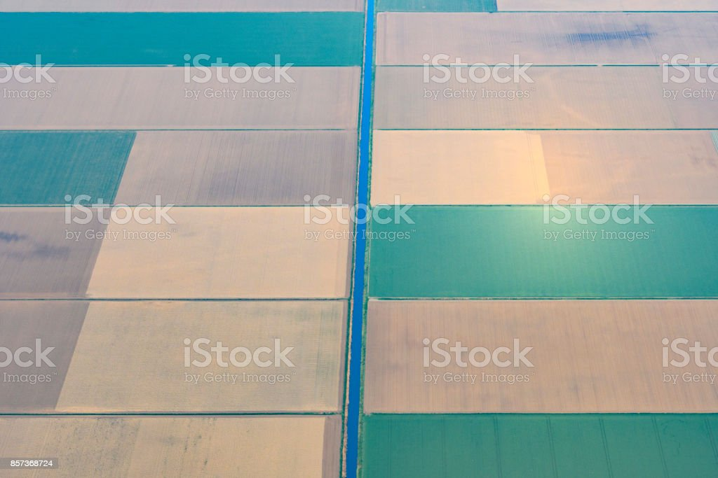 Aerial view on abstract agriculture landscape in Flevoland, The Netherlands stock photo