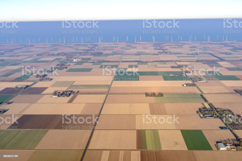 Aerial view on agriculture landscape in Flevoland, The Netherlands stock photo