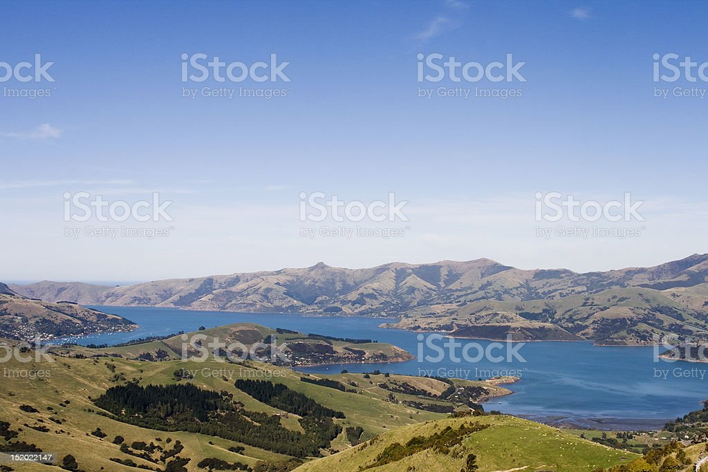 Aerial view on Akaroa bay in New Zealand royalty-free stock photo