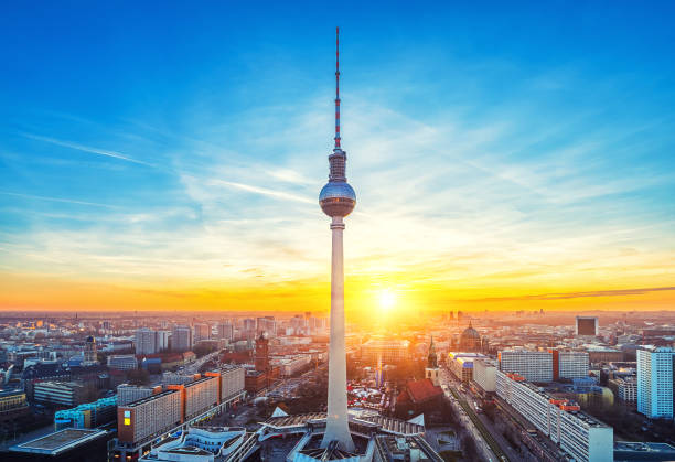Aerial view on Alexanderplatz in Berlin stock photo
