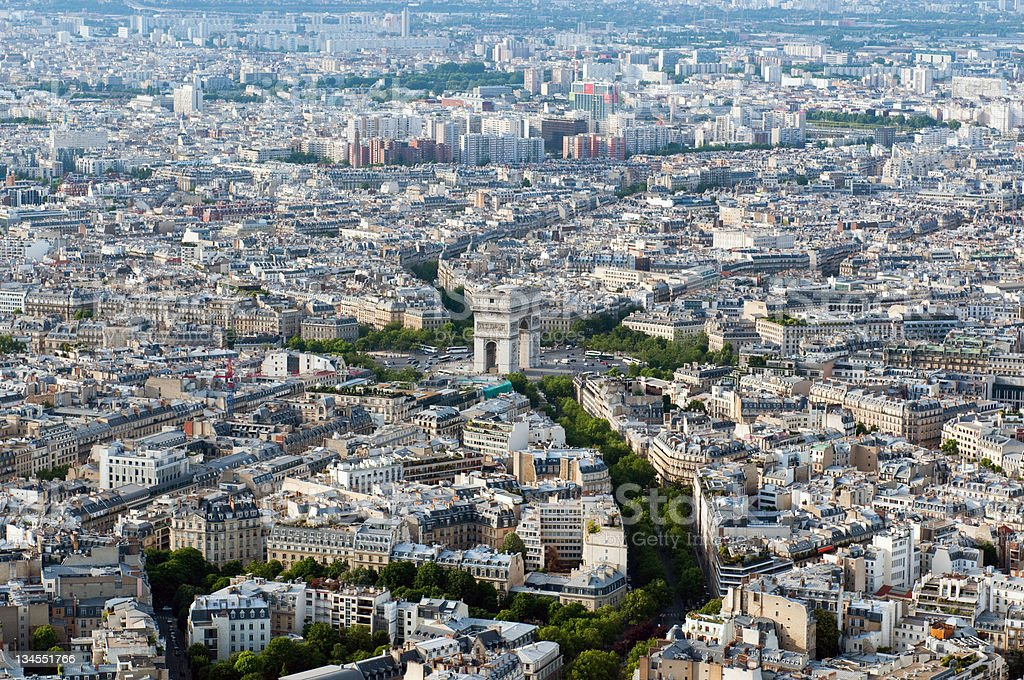 Aerial view on Arc de Triumph from Eiffel tower stock photo