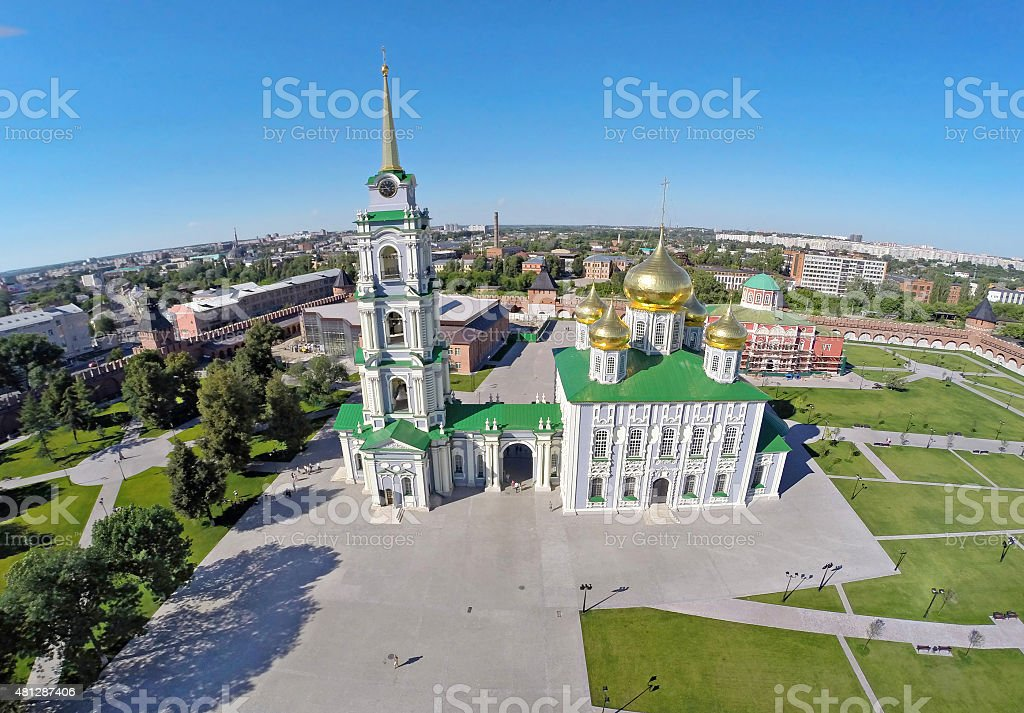 Aerial view on Assumption Cathedral located in Tula kremlin stock photo