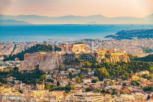 istock Aerial view on Athens, Greece 1141586781