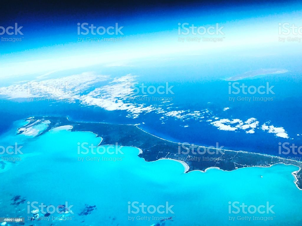 Aerial view on Atlantic Ocean with Carribean islands stock photo