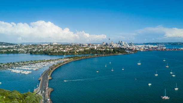Aerial view on Auckland city center over Waitemata Harbour. New Zealand stock photo