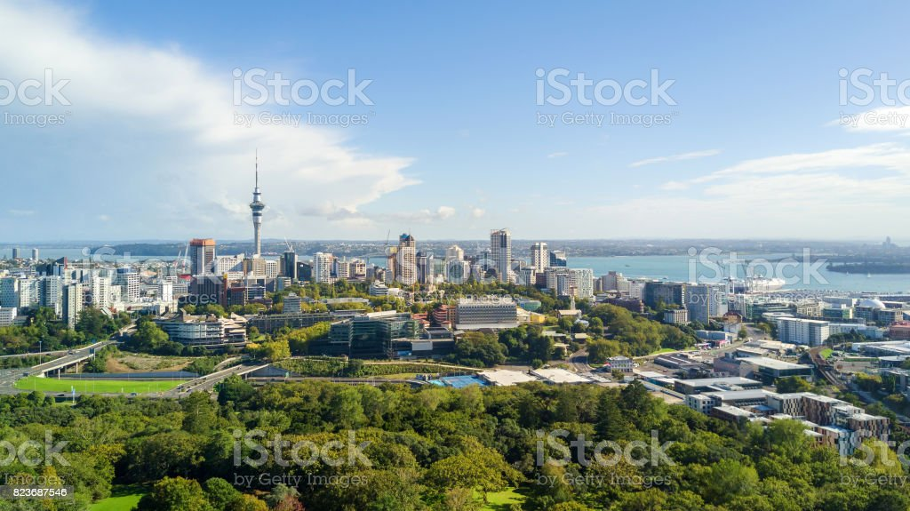 Aerial view on Auckland city center with Waitemata Harbour on the background. New Zealand stock photo