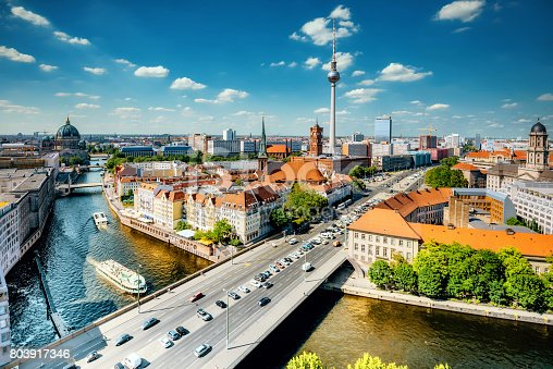 aerial view on central berlin with Tv-Tower and river in summer