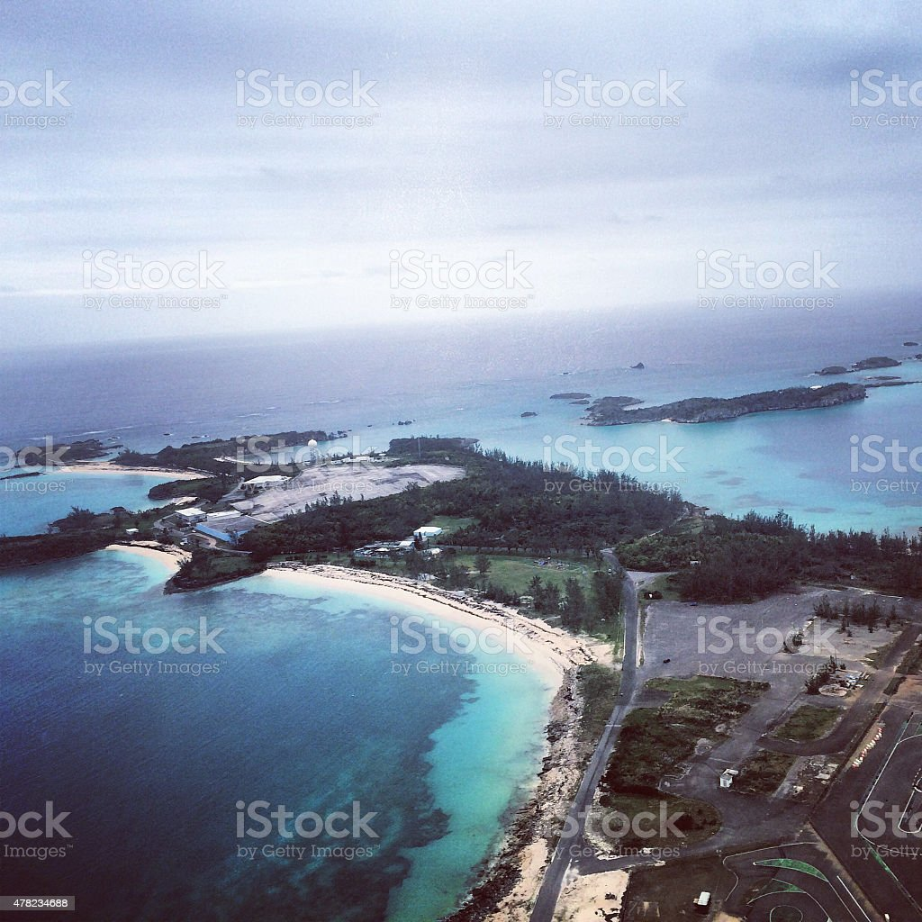 Aerial view on Bermuda, from a plane stock photo