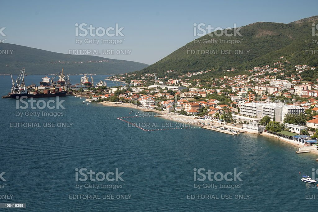 Aerial view on Bijela, Herceg Novi and Shipyard royalty-free stock photo