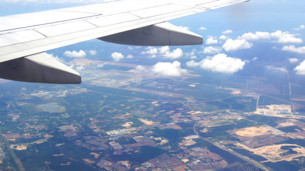 Aerial view on board Malaysia Airlines flight enroute to Langakwi stock photo