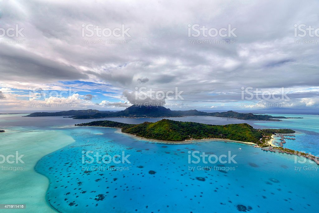 Aerial view on Bora Bora stock photo